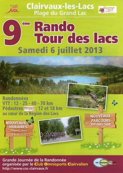 9ème RANDO TOUR DES LACS - samedi 6 juillet 2013